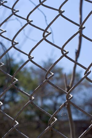 Closeup of a chain link fence near the woods, over a blue sky photo