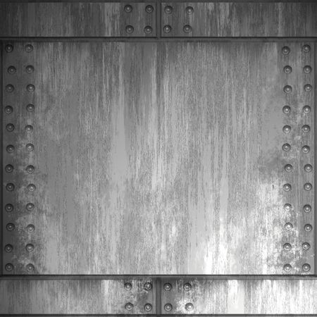 brushed aluminum: A riveted steel background. It can be used as a frame or border, or tiled as a seamless pattern. Stock Photo