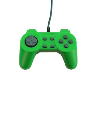 A neon green game controller isolated over white with plenty of copyspace.  Фото со стока