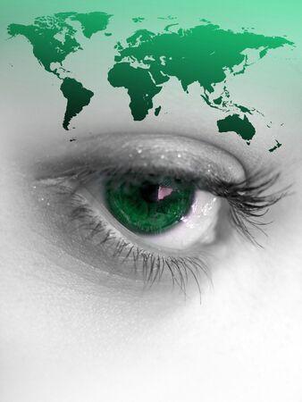 parpados: Montage de un bonito color de ojos aisladas con el resto del mundo los continentes.