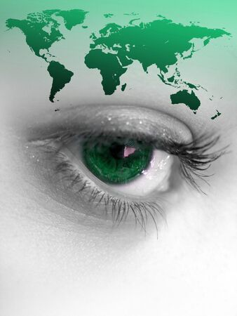 montage: Montage of a pretty color isolated eye with the world continents. Stock Photo