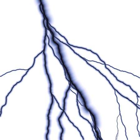 electrifying: Bolts of lightning isolated over a white background. Stock Photo