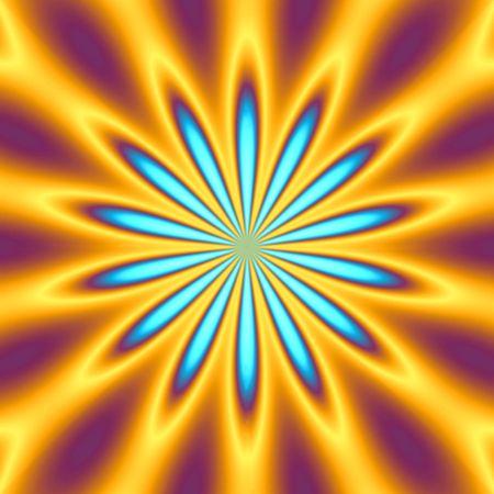 hallucinate: A bright orange and blue star burst illustration - very retro.