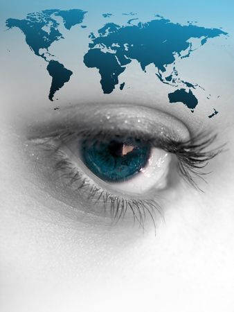 Montage of a pretty color isolated eye with the world continents.  This works for a variety of concepts from travel, to business, or even environmental issues. Stock Photo - 3098379