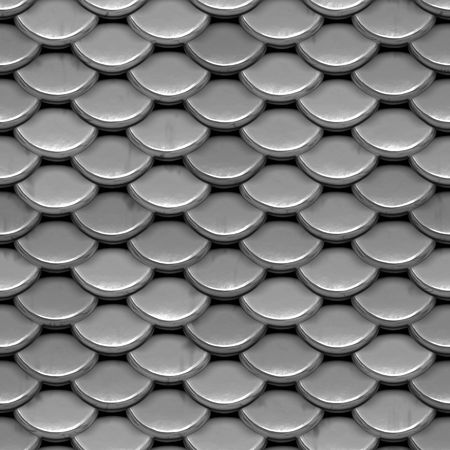 reptile: A texture that looks like shiny, silver armor or even the scales on a fish or reptile.  This image tiles seamlessly as a pattern.