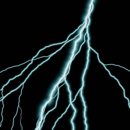jolt: Bolts of lightning isolated over a black background. Stock Photo