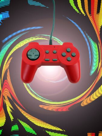 A red game controller isolated over white with plenty of copyspace