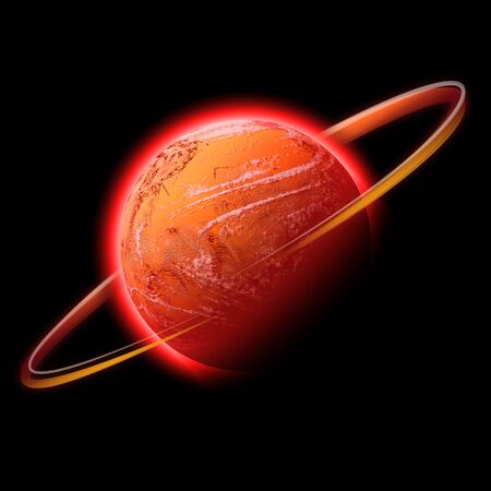A red hot glowing planet with a glowing ring of light around it. This works well as Mars. photo