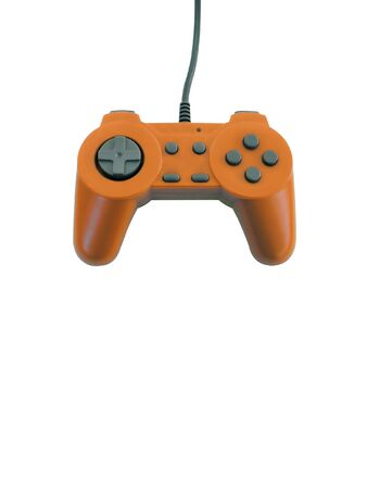 gamepad: An orange gamepad isolated over white with plenty of copy space
