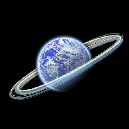 A glowing planet earth illustration with glowing rings of light spinning around it. Фото со стока