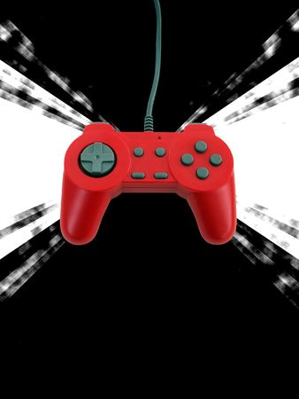 A red game controller isolated over white with plenty of copy space.  This file includes the clipping path.