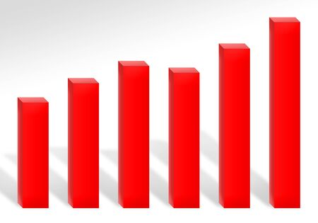 A 3d red bar chart illustration showing profits or growth. illustration