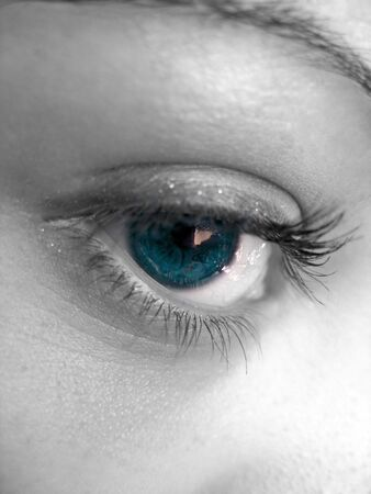 A macro shot of a pretty woman's eye with selective color. Stock Photo - 3125900