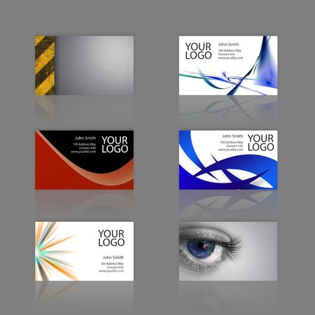 An assortment of 6 modern business card templates - print ready and fully customizable.  These include .25 inch bleed.  Cards are 3.75 x 2.25 total, and trim to the standard 3.5 x 2 size. Stock Photo - 3133053