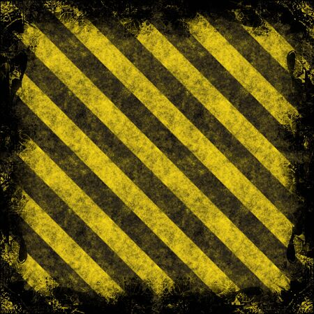 very dirty: A grungy hazard stripes border - very weathered and dirty looking.