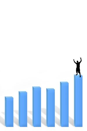 A 3d profit chart with a silhouette of a man standing at the top with arms in the air.  Plenty of copy space. photo