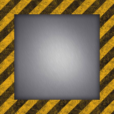 hazard: A diagonal hazard stripes border with brushed metal in the center. Stock Photo