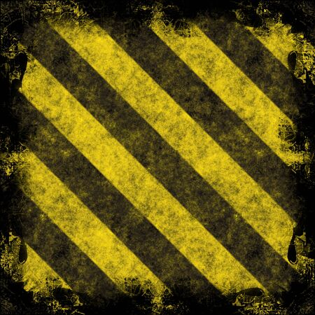 hazard stripes: A diagonal hazard stripes frame.  The stripes are weathered, worn and grunge-looking.