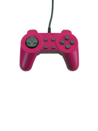 A pink game controller isolated over white with plenty of copy space. This file includes the clipping path.   photo