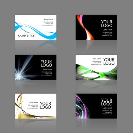 An assortment of 6 modern business card templates - print ready and fully customizable. These include .25 inch bleed. Cards are 3.75 x 2.25 total, and trim to the standard 3.5 x 2 size. Stock Photo - 3174412