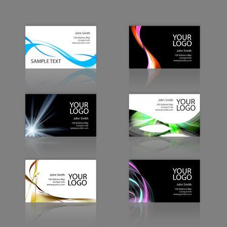 Un surtido de 6 modernas plantillas de tarjetas de visita - impresión listo y completamente personalizable. Estos incluyen .25 pulgadas sangrar. Tarjetas de 3.75 x 2.25 total, y recortar a la estándar de 3,5 x 2 tamaño. Foto de archivo - 3174412