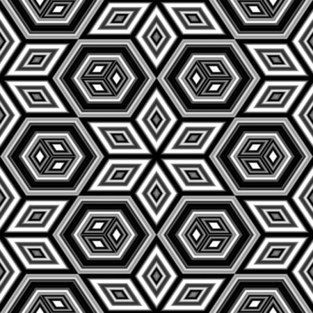Black and white geometric pattern that tiles seamlessly. photo