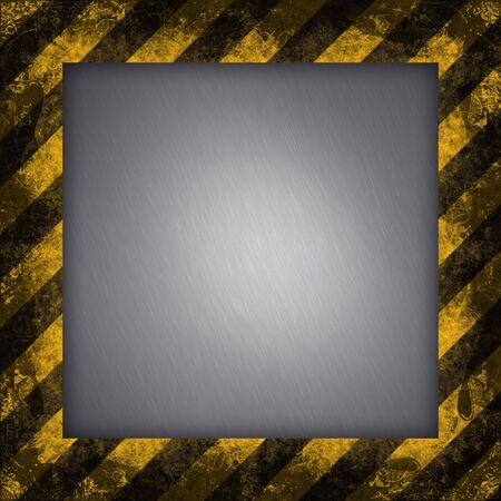 hazard stripes: A diagonal hazard stripes border.  The inner part of the frame is brushed aluminum.