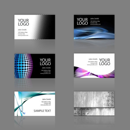 logo marketing: An assortment of 6 modern business cards - templates that are print ready and fully customizable. These include .25 inch bleed. Cards are 3.75 x 2.25 total, and trim to the standard 3.5 x 2 size.