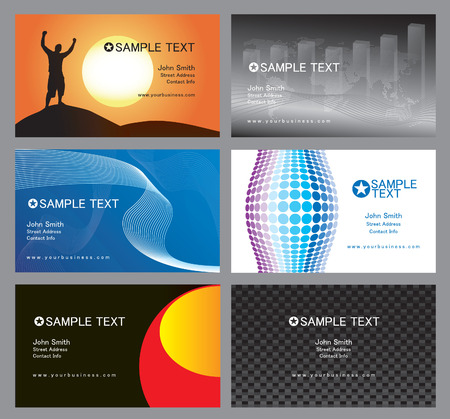 An assortment of totally editable vector based business cards.  Clean and simple designs that you can implement with your own corporate identity.