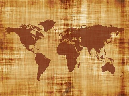 yellowish: A map of the world on some really old parchment paper. Simply tweak the hue and saturation for a different effect. Stock Photo