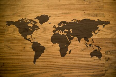 wood laminate: A map of the world and all of the continents over a woodgrain texture.