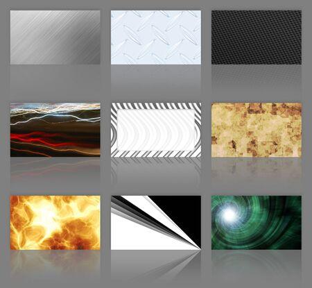diamond plate: An assortment of 9 modern business cards.  Stock Photo