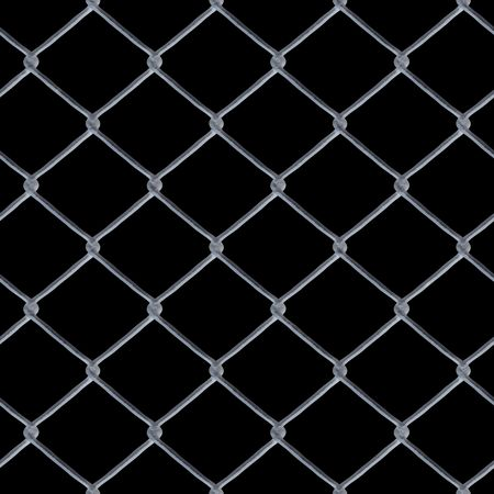 A 3D chain link fence texture over black - this tiles seamlessly as a pattern in any direction. Stock Photo