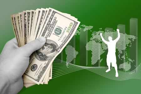 A montage about profit in world business.  A successful man throws his arms up in achievement. photo