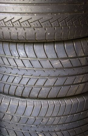 A stack of used tires in the garage. Stock Photo - 3329647