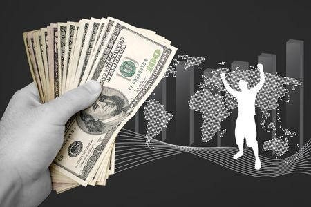 moola: A handful of cash isolated over a business finance themed background. Stock Photo