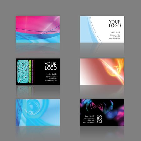 Assortment of 6 modern business card designs - templates that are print ready and fully customizable. These editable cards include .25 in bleed. They are 3.75 x 2.25 total, and trim to the standard 3.5 x 2 size.
