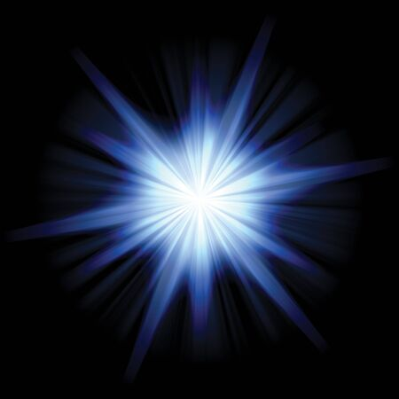 A star burst or lens flare over a black background. Stock Photo