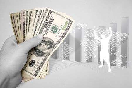 A handful of cash and illustration themed around financial success. The paper money has selective color. illustration