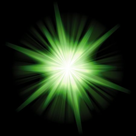 A star burst or lens flare over a black background. Stock Photo - 3374114