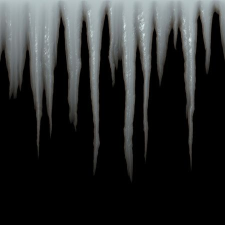 frigid: isolated icicles hanging over black Stock Photo