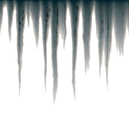 isolated icicles hanging over white photo