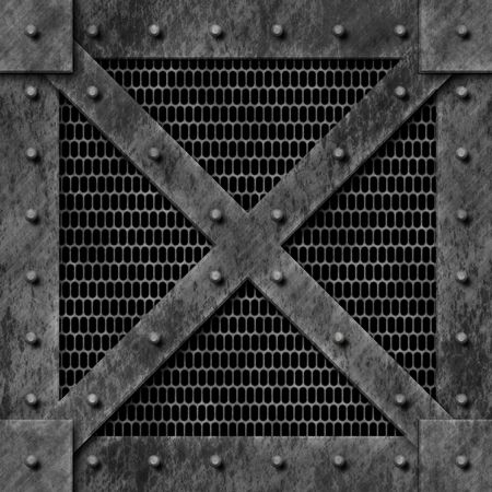 A metal plate with rivets and wire meshing. photo