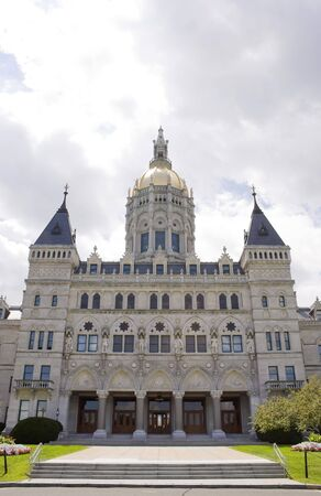 connecticut: Thie golden-domed capitol building in Hartford, Connecticut. Stock Photo