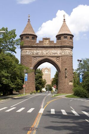 brownstone: The brownstone Soldiers and Sailors Memorial Arch found in Hartford, Connecticut - the capital city.  This was dedicated to the lives lost during the Civil War.