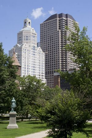 connecticut: The Harford Connecticut city skyline as seen from Bushnell Park. Stock Photo