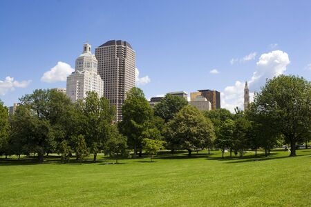 seen: The Harford Connecticut city skyline as seen from Bushnell Park. Stock Photo