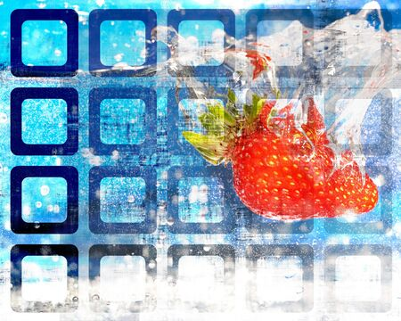 An abstract grunge design with a juicy red strawberry plunging into some water. Stock Photo