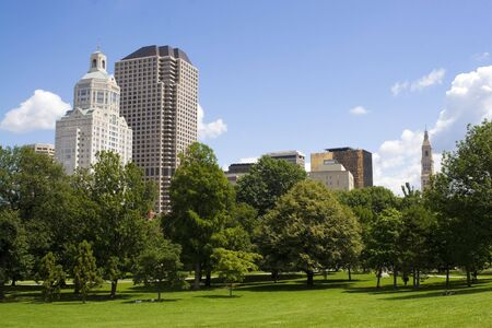 connecticut: The Hartford Connecticut city skyline as seen from Bushnell Park.