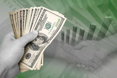 moola: Handful of cash, profit chart, and a firm handshake.  A great image to portray profits or successful business dealings.